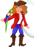 Pirate. Little pirate with a macaw parrot Royalty Free Stock Photo