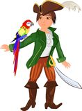 Pirate. Little pirate with a macaw parrot Stock Photo