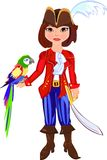 Pirate. Little pirate with macaw parrot Royalty Free Stock Photo