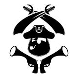 Pirate logo. head of buccaneer and sabers. pirate symbol. Vector Royalty Free Stock Photos