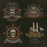 Pirate logo in retro style Royalty Free Stock Image