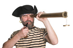 Pirate looks a telescope Royalty Free Stock Images