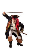 Pirate lunges forward with raised sword Stock Photo