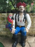 Pirate with macaw bird Stock Photography