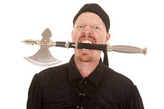 Pirate man hatchet in mouth crazy Royalty Free Stock Images