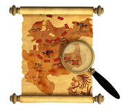 Pirate map. A way to treasure Royalty Free Stock Photo