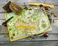 Pirate map with adventure objects Stock Photos