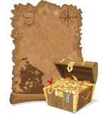 Pirate Map and Chest. Pirate scroll map and chest full of gold Stock Images