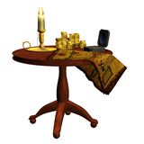 Pirate map and coins. 3D render of a table with pirate map, coins and candle stock illustration