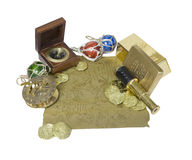 Pirate map with coins and bars, compass, gold, and telescope Stock Image