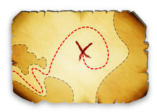 Pirate map marked with the location of the treasure Royalty Free Stock Images