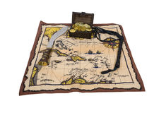 Pirate Map and Treasure. Pirate treasure chest with gold coins, map, dagger and leather whip - path included Stock Image