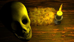 Pirate Map under Candle Light with Human Skull Stock Photos