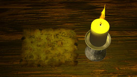Pirate Map under Candle Light Stock Photo