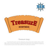 Pirate map on white background. Treasure hunters. Old scroll in cartoon style. Vector illustration Stock Photos