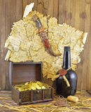 Pirate Map With Knife And Gold Stock Photo