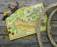 Pirate Map With Knife And Rope Rolls Royalty Free Stock Image