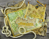 Pirate maps in rope frame Stock Image