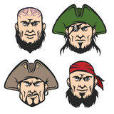 Pirate Mascot Faces Set Royalty Free Stock Images