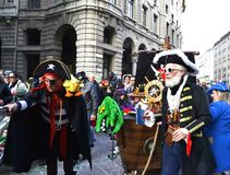 Pirate masks participating in the Carnival celebration in Duomo square. Royalty Free Stock Photography