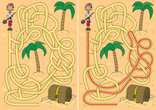 Pirate maze. For kids with a solution Royalty Free Stock Photography
