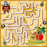 Pirate maze, labyrinth game for preschool children Royalty Free Stock Photo