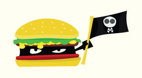 Pirate Meal Food Burger Illustration. A burger holding a pirate flag, concept of fake, poison food Royalty Free Stock Photos