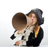 Pirate and megaphone Royalty Free Stock Photography