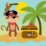 Pirate monkey on island near treasure chest vector illustration