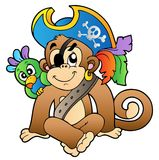 Pirate monkey with parrot Stock Image
