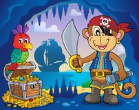 Pirate monkey topic 4 Royalty Free Stock Photo