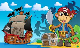 Pirate monkey topic 3 Stock Photography