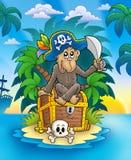 Pirate monkey on treasure island Stock Photos