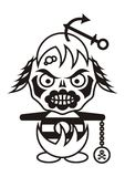 Pirate monster. Black vector pirate zombie cartoon character isolated Royalty Free Stock Photo