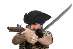 Pirate with a musket and sword. Terrible pirate tricorn hat with a musket and sword Stock Photo