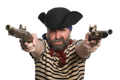Pirate with a muskets. Terrible pirate in tricorn hat with a muskets Stock Photography