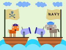 Pirate and navy. A cat pirate and a navy dog sailing in their ships with cannons royalty free illustration