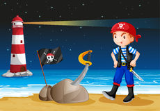 A pirate near the lighthouse. Illustration of a pirate near the lighthouse Stock Photo