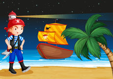 A pirate near the seashore with a pirate boat Royalty Free Stock Photos