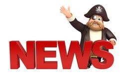 Pirate with  News sign Stock Photos