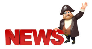 Pirate with  News sign Royalty Free Stock Photos