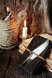 Pirate object on wooden table Royalty Free Stock Images