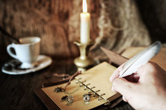 Pirate object on wooden table Royalty Free Stock Image