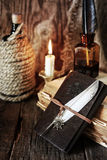Pirate object on wooden table Royalty Free Stock Photography