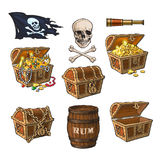 Pirate objects, treasure chests, flag, rum barrel. Pirate set - treasure chests, jolly Roger flag, rum barrel, field glass, skull and bones, hand drawn cartoon vector illustration
