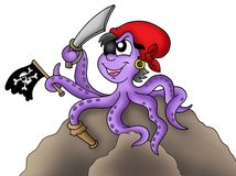 Pirate octopus. Illustration of pirate octopus sitting on rock royalty free illustration
