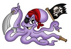 Pirate octopus. Color illustration of pirate octopus royalty free illustration