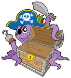 Pirate octopus with chest Royalty Free Stock Image