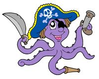 Pirate octopus with sabre. Vector illustration Stock Image