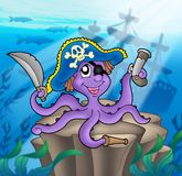 Pirate octopus with shipwreck. Color illustration Royalty Free Stock Photos
